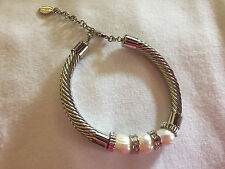 Mestige Pearl and Silvertone Lithe Bracelet with Swarovski Crystals