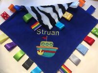 PERSONALISED BOAT TAGGY BLANKET//COMFORTER//GIFT