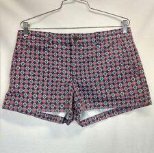 GAP Women Summer Shorts Size 6 Cotton Geometric Pattern Navy Blue White Pink Red