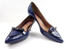 Isaac Mizrahi Heels ISJanis2 bow women 9.5 Blue/Black Patent Leather Kitten $145
