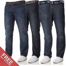 New Mens KRUZE Designer Straight Fit Belt Blue Denim Jeans All Waist Sizes