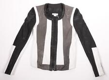 HELMUT LANG Womens Black+White Multicolor Leather+Canvas Zip Jacket P/XS