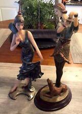 "2 Polyking Resin Art Deco Figurines Girl With Dog & Flamenco Dancer 12"" Tall"
