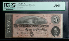 1864 $5 Confederate States CSA T-69 PCGS GEM UNCIRCULATED  65 PPQ