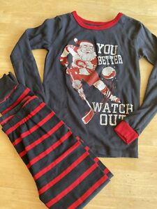Boys Size 8 Christmas Pajamas Oshkosh B'gosh Santa You Better Watch Out Hockey