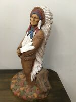 Tom Clark Chief Hollow Horn Bear Cairn Gnome Signed Indian Statue Native America