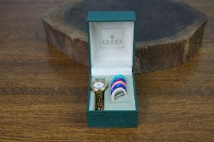 """Vtg GUCCI Interchangeable Bezel 11/12 GOLD Plated Link 6 1/2"""" Wrist Watch"""