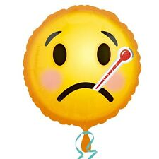 "GET WELL SOON Smiley Emoji 18"" Round Foil Helium BALLOON Unwell Feel Better"