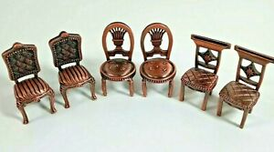 """Vintage Pewter Place Card Holder Chair Dollhouse Miniature Metal Chair 2"""" Set 6"""
