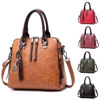 Women Vintage Retro Oil Leather Handbag Lady Crossbody Bag Tote Shoulder Purse