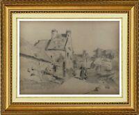 CHARLES WISLIN (1852-1932) SCENE ANIMEE A PERROS-GUIREC BRETAGNE 1880 (498)