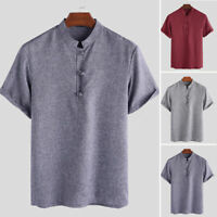 INCERUN Men's Short Sleeve Collarless Button up T Shirt Formal Tops Tee Blouse