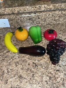 Vintage Murano Style Lot of 6 fruits and vegetables
