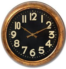 Vintage Retro Industrial Distressed Metal Copper Wall Clock Black Face NEW Hall