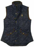Polo Ralph Lauren Women's SZ XS  Leather Trimmed Quilted Vest Navy Blue  $170+