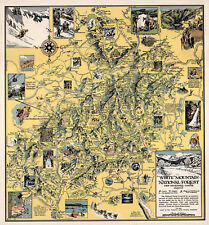 1926 Map White Mountain National Forest New Hampshire Maine Wall Art Poster