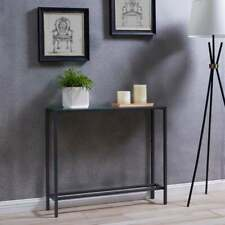 Narrow Console Table - gunmetal gray simple with mirror slim style understated
