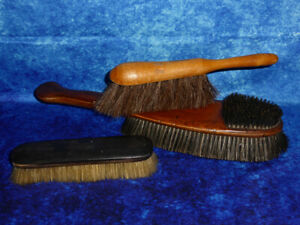 Collection 3 Vintage Brushes - Clothes brush, Frost & Norton, Pure Hair, Table