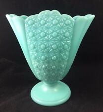 """RARE Fenton Glass Turquoise Pastel Blue DAISY & BUTTON 9"""" Footed Fan Vase - 1956"""