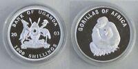 Uganda 1000 Shillings 2003 Afrikanische Gorillas p104 pp / proof