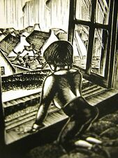 Lynd Ward 1930 BOY LOOKING OUT of WINDOW as CHILDREN PLAY Art Deco Print Matted