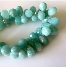 Blue Green Amazonite Faceted Tear Drop Briolette Beads 8x12mm 7 Inch Strands