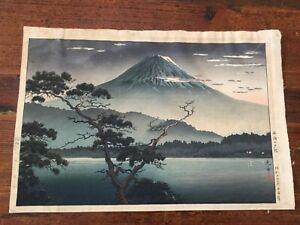 Vintage Signed Japanese Woodblock  Print Mount Fuji ~~ Lake signed