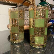 "2 Mid-century Culver Glass Prado Green & Gold 5 5/8"" Flat Tumblers - Mint"