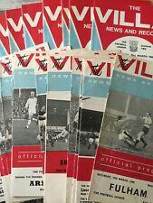 Aston Villa HOME programmes 1960's 1965/66 1966/67 1967/68 League & Cup
