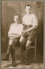 WW1 era Postcard - Relaxed British Soldiers smoking - Puttees, shorts, shirt.