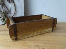 U7166 Ancien Boîte en bois avec Raccords fonte Forme brique de PIÈCE UNIQUE