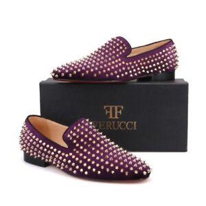 Men FERUCCI Purple Velvet Slippers Loafers Flats Gold Spikes Rivet Wedding Prom