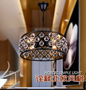 Spencer Hoop Chandelier 4 Bulb Crystal Ceiliang Lamp Indoors E27 Lighting 17.7""