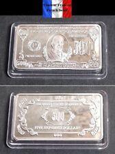 Lingot plaqué ARGENT - Billet de 500 $ Five Hundred Dollars Banknote