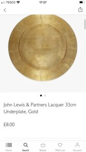 BNIP John Lewis Gold Lacquer Underplate/33cm/RRP£8
