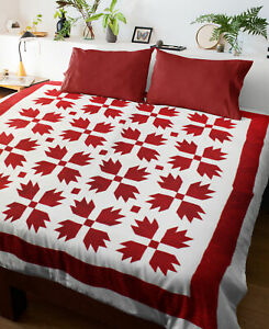 Red & White Bear Paw FINISHED QUILT - Great Bold Graphics - Queen size