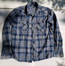 Vans Flannel Style Long Sleeve Shirt Mens Medium Striped Blue Button Up
