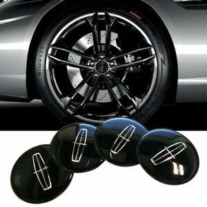 "4x 2.2"" 56mm Black Wheel Center Hub Cap Emblem Badge Decal Sticker For LINCOLN"