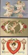 Lot of 12 antique valentine post cards