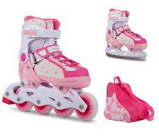 Inliner Schlittschuhe 2 in 1 verstellbar Größe 37 - 40 rosa pink für Mädchen NEU