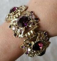 Vintage 50s Amethyst Gold Tone Rhinestone Crystal Panel Link Statement Bracelet