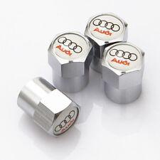 4 x Silver Chrome Tyre Valve Dust Caps (Fits AUDI) - WHITE