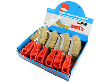 Hilka Display Box 24 Wire Brushes Scratch Brass Coated Steel Red Handle 49404024