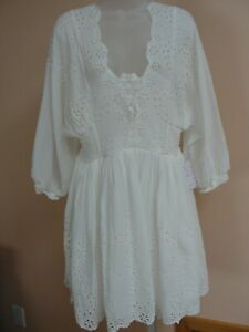 Free People Women's Embroidered/ Lace dress ,XL,ivory/ white