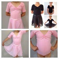Ballet Leotard or Chiffon Dance Skirt Wrap.Black/Pink.Short Sleeve RAD Uniform