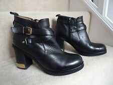 TOPSHOP BLACK LEATHER ANKLE BOOTS HEELS SIZE 6 / 40 VERY GOOD CONDITION