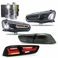 ALL BLACK LED Headlights+SMOKED Taillights+VLAND H7 LED Bulbs for 08-17 Lancer