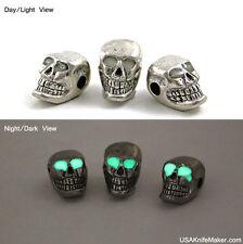 "Pewter Skull bead Horizontal 3/16"" hole Glow n Dark Eyes JEBE-TM-001"