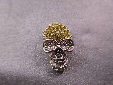 Skull w/ Yellow Rhinestone Spacer Beads 1pc