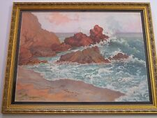 DOLPH LITTLE LARGE ANTIQUE CALIFORNIA PLEIN AIR PAINTING COAST NAUTICAL SEASCAPE